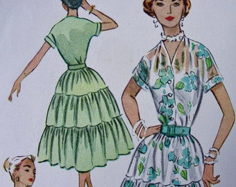 UNCUT * 1950s  McCall's Pattern 9406 - Misses' Romantic Dress for Date Night or Dancing  * Size 16 * Bust 34