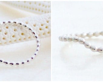 Straight or Curved Bubble Beaded Band in Sterling Silver, 14kt Gold Fill, or Solid 14k Gold - Wedding, Promise, Stacking Ring - Eco Friendly