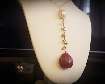Pear Shape Ruby Drop and Pearl Necklace