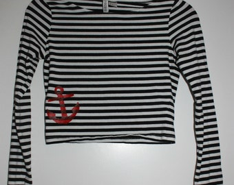 SALE Striped Cropped Long Sleeve Shirt with Anchor
