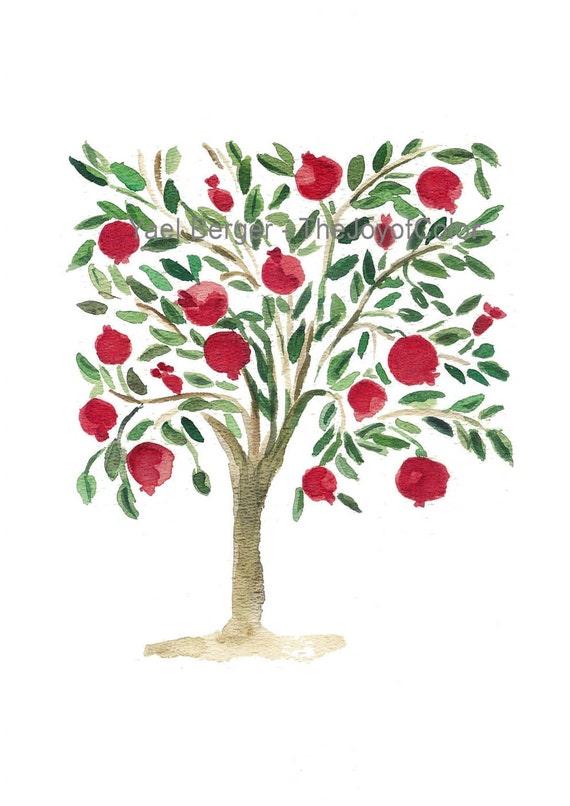 Pomegranate Tree,  folk art inspired Art, Mediteranean, watercolor print, Garnet Red, Green, Rosh Hashanah, weddings, mount of spices tree