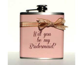 Will You Be My Bridesmaid Gifts, Asking Maid of Honor Gift, Custom Wedding favors, Personalized Bridesmaid Flask, Groomsman Present