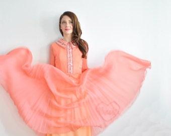 sheer dark peach sequin gown . glam mod hollywood regency  . peter pan collar .medium .sale