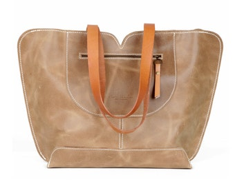 Camel Leather tote, big leather bag, Women bag , The perfect all day tote bag by Ayelet Shachar