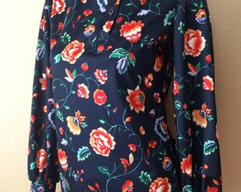Vintage Women's 70's Polyester Blouse, Navy Blue, Colorful, Floral Print, Long Sleeve (M)