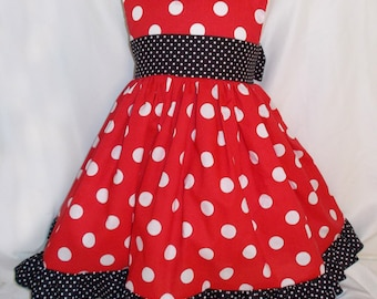 Red & White Polka Dot Minnie Inspired Sleeveless dress with sash and ruffled hem. Infant Baby Toddler, and Girl Sizes.