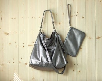 Medium leather bag, leather tote bag, women leather purse, light weight leather handbag - Alice in silver