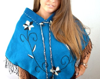 Vintage Boho Embroidered Wool Mexican Fringe Poncho Sweater