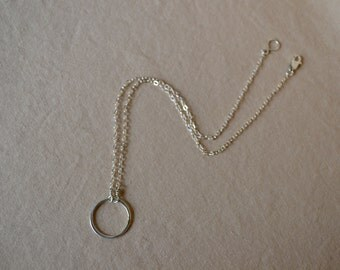 Simplistic sterling silver choker with hammered circle pendant