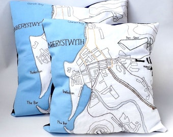Aberystwyth Ceredigion, Mid Wales Coastal Town Map Embroidered Cushion Cover with Light Blue Applique and Navy Backing Fabric 50 x 50cm