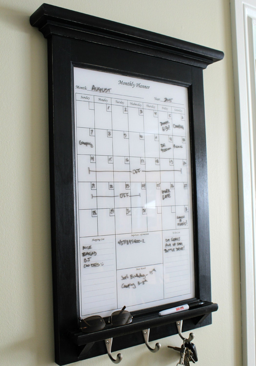 Wall Decor White Perpetual Dry Erase Calendar Family Planner