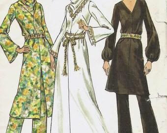 Uncut, Misses Size 14.5, Vintage 1970s Sewing Pattern, Butterick 6026, Maxi, Dress, Tunic Top, Straight Leg Pants, Loose Fitting, Mod, retro