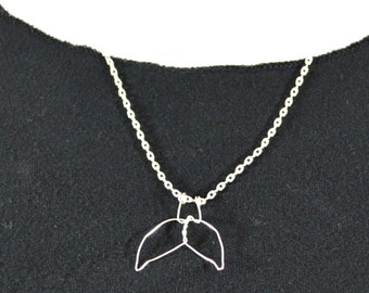 Whale Tail Necklace - silver , adjustable length - Silver Flipper Pendant on chain