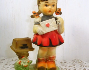 Vintage Hummel Like Ornament, Girl, Christmas, Valentines Day, Heart, Mailbox, Molded Plastic, Made in Hong Kong, Year Round Decor  (780-15)