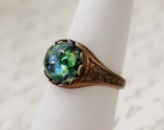Green Opal Ring. Vintage Jewel. Antique Silver or Antique Brass