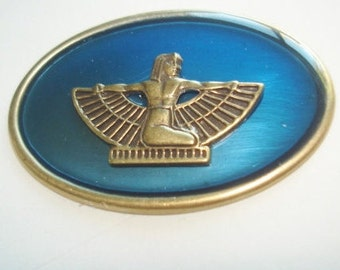 Vintage Jewelry Wing Goddess Egyptian Revival   Brooch Royal Blue