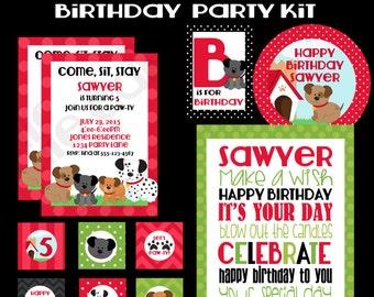 Puppy Birthday Party  Printable Kit, Custom