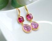 Pink dangle earrings, Pink drop earrings, Ruby dangle earrings, Gold earrings, pink and fuchsia