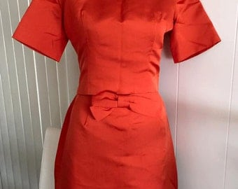 SALE Late 1950s early 1960s Two Piece Fit and Flare ORANGE Dress with BOW -- Mad Men -- Size S