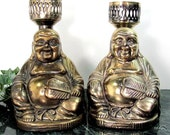 Vintage ORIENTAL BUDDHA Candleholders Statue Brass Finish Unique Antique Rare