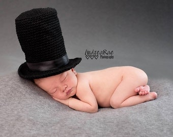 Circus Hat - Tall Top Hat - Black Top Hat - Baby Top Hat - Newborn Photo Prop - Circus Top Hat - Top Hat - Newborn Top Hat