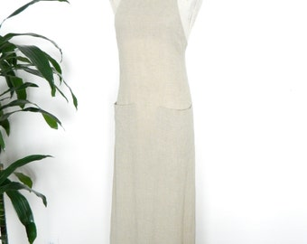 Backless Linen Maxi Dress Criss Cross With Pockets Racer Back Lightweight