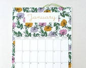 2016 Wall Calendar, sized 11x17 Inches, featuring 12 different full pattern illustrations in green, purple, pink, coral, orange and gold