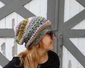 California HAT Beanie Slouchy Handmade Bohemian OOAK color Hat Perfect GIFT Fashion Womens Men Unisex Multicolor ooak Crocheted Knit