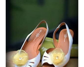 Wedding YELLOW Organza Flower Shoe Clips. White Ivory Blue. Bride bridal couture elegant trendy gift, fabulous rockabilly, dainty feminine