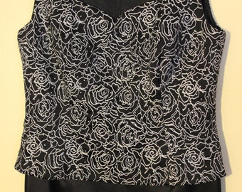 FREE SHIPPING Ladies Long Black Beaded Dress     Size 4 Petite
