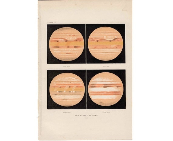 1900 PLANET JUPITER print riginal antique celestial astronomy lithograph