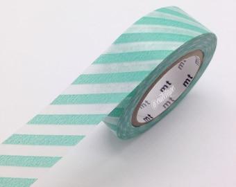 Mint Aqua Washi Tape Diagonal stripe Japanese