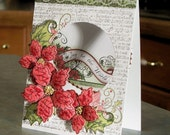 Handmade Christmas Card - Poinsettias - Joy to the World ~ The Lord is Come...
