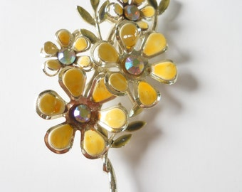 Vintage Coro Yellow Floral Brooch • Mid Century Yellow Enamelware and Rhinestone Pin