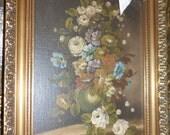 Vintage Roses Signed and Framed Oil on board Still Life Floral Painting M. Bonny
