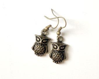 Bronze Owl Earrings, Little Metal Owls, Retro