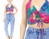 80s Hawaiian Crop Top Tropical Print Halter Top Hibiscus Pink Floral Crop Top Summer Pinup Beach Tank Top Strappy Backless Swim Top (M/L)