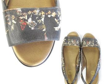 25% OFF SALE 1980s Novelty Sandals Renaissance Painting Art Print Shoes Slingback Sandals Museum Open Toe Sandals Gold Flat Sandals Size 9