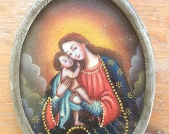 "Large 3"" Peruvian sterling silver relicario pendant painted two sides, Cuzco miniature painting, escudo de monja religious art reqliquary"