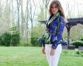 SALE 40% off Peplum Jacket/African wax print/Peplum jacket/Holland wax/Tribal/African shirt/African clothing/rusteam