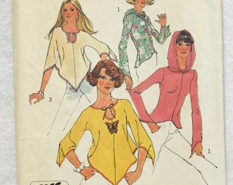 """1974 Vintage Simplicity Jiffy Sewing Pattern 6656 Knit Hoodie and Shaped Hem Top  Size 12 bust 34"""""""