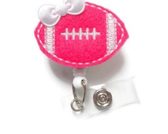 Hot Pink Football - Retractable ID Badge Reel - RN Badge Holder - Badge Clip - Teacher ID - Nursing Badge Holder - Felt Badge Reel