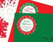 Christmas Address Labels - Quatrefoil Pattern - Sheet of 24