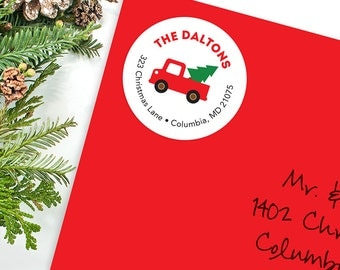 Christmas Address Labels - Vintage Truck - Sheet of 24