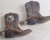 Vintage Cowboy Boots Child Size with Spurs Tom DeWitt Boot Co. El Paso, Texas