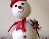 """9 1/2"""" BobbleHead Snowman Candy Container Vintage Look-Paper Mache,Spun Cotton,German Dresdens,Vintage Holly Leaves and Berries, Mica"""