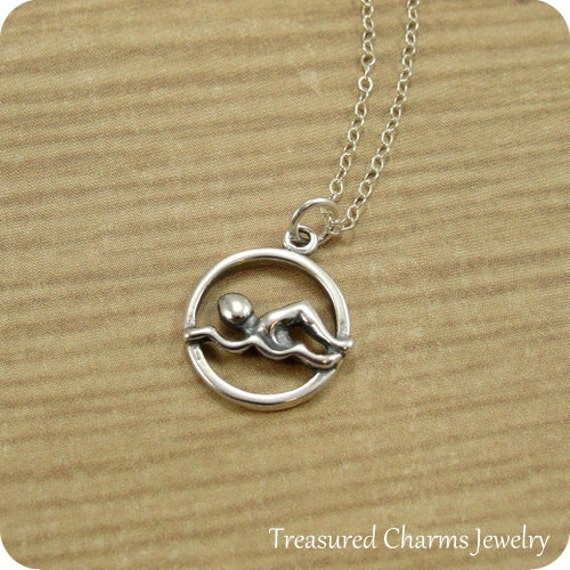 Swimmer Necklace, Sterling Silver Swimmer Charm on a Silver Cable Chain