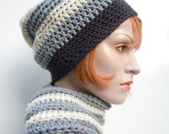 Men Hat and Scarf Set, Charcoal and Slate Gray Slouch Hat and Scarf Set, Crocheted Hat and Scarf, Mens Hat and Scarf