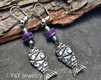 Cool Swim Dangle Fish Earrings, Tribal Jewelry, Tribal Earrings, Purple, Russian Charoite, Mykonos Jewelry, Earthy Jewelry by YaY Jewelry