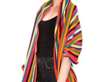 Mexican stripe shawl scarf tassels